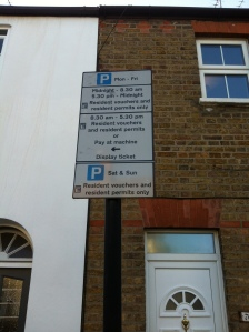 Vansittart Road Windsor Parking Sign